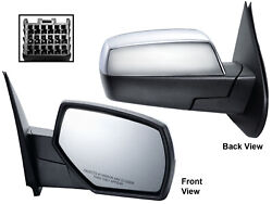 For 2014-2019 Sierra Silverado Mirror Power Heated Chrome Cover Passenger Right