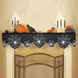 Spider Web Fireplace Mantel Embroidered Scarf Black And Silver Halloween 68 New