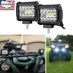 4and039and039 Led Work Light Bar 60w Bulb Spot Flood Lights For Trucks Motorcycle Boat Suv
