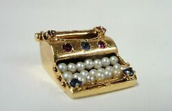 Antique 14k Yellow Gold Sapphire Ruby And Pearl Typewriter Pendant Or Charm
