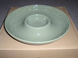 Longaberger Pottery, Chip And Dip Bowl, Sage, New In Box