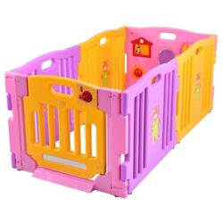 6 Panel Baby Playpen Kids Safety Play Center Yard Inside Safely Fit Space Adjust