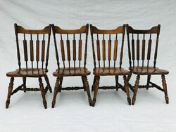 Vtg Temple Stuart Rockingham Solid Hard Rock Maple Cattail Back Dining Chairs S/