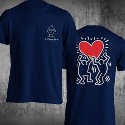 Keith Haring Heart T-shirt Short Sleeve Front Back Printing Unique Design Shirt