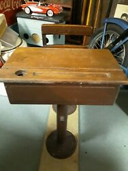 Vintage 1930's Adjustable School Desk And Swivel Chair W Ink Well