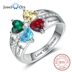 Personalized Women Rings 925 Sterling Silver Engrave Names Birthstones Moms Gift $21.99