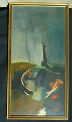 Vintage Mid Century Leon Saulter The Weeping Wall 1964 Painting Oil In Masonite