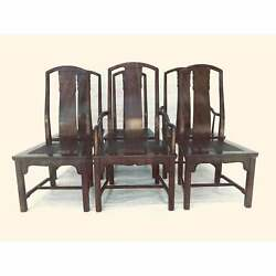 Vintage Henredon Dining Chairs Set-6 Solid Wood Asian Style W/caned Seats