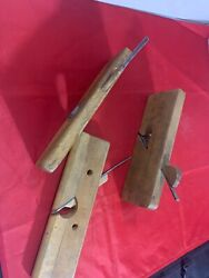 Set Of 3 Vintage Antique Possibly Handmade Thin Wood Block Planes 10 X 3 Each