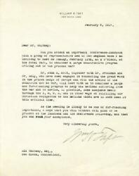 William H. Taft - Typed Letter Signed 02/08/1917