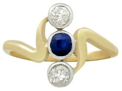 Antique Austro-hungarian 0.25ct Sapphire And 0.40ct Diamond 14k Gold Ring