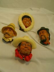 Lot Of Four Bossons Heads Romanian Rawhide Eskimo Tibetan Chalkware Collectables