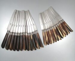 Antique French Knives Steel Blades Horn Handles Silver Collars Stamped 24 Pcs