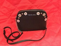 Emmy Medium Crossbody In Saffiano Leather Bag - Black And Sliver New
