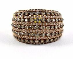 Natural Round Brown Diamond Cluster Dome Wide Ring Band 14k Rose Gold 2.18ct