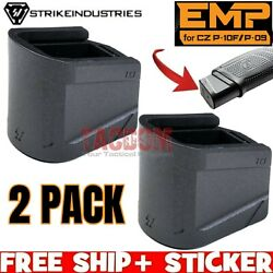 Strike Industries 2 Pak Extended Grip Pad Base Plate For Cz P-10f Magazine 9 40