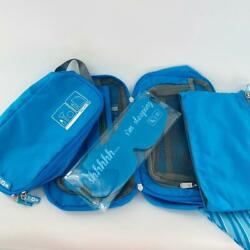 Flight 001 Cosmetic 4 Piece Travel Bag Set in Blue gray Open Box New FREE SHIP $29.99