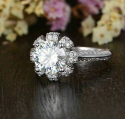 Floral Crown Queen Engagement Ring 2.40ct Round D/vvs1 Diamond 14k White Gold