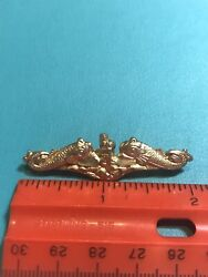 Wwii Usn Us Navy Officers Submarine Warfare Dolphin Pin Amico 1/20 10k Gold