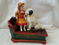Cast Iron Speaking Dog Mechanical Penny Bank Reproduction Hand Painted Guc