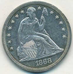 1868 Proof Seated Liberty Silver Dollar-very Scarce Gently Circulated-free S/h