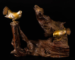 Japanese Vintage Ornament A Pair Of Bronze Doves On Natural Wood