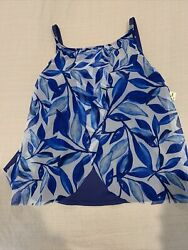 Nwt 24th And Ocean Womenand039s Flyaway Front Tankini Blue White Flowy Top Size 18w