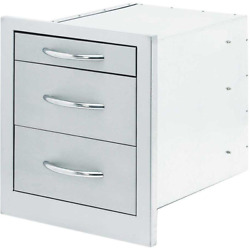 Wide Outdoor Kitchen Stainless Steel 3-drawer Storage Extra-large Handles 18 In.