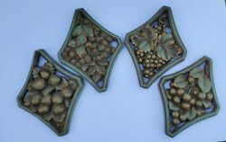 4 Vintage Universal Statuary Corp Chicago 1958 Chalkware Fruit Set Wall Plaques