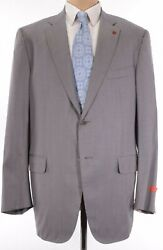 Isaia Nwt Suit Size 48l In Solid Light Tanish Gray Wool/silk Base S 4175