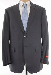 Isaia Nwt Suit Size 46l Gray W/ Lighter Gray Static Plaid Wool Base S 3,995