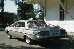 Classic Old Car Just Married Vtg 1961 2 35mm Slide Lot Photos Wedding Newlyweds
