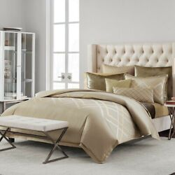 Hudson Park Collection Luxe Piazza King Comforter Cover Metallic/gold- Nip 570