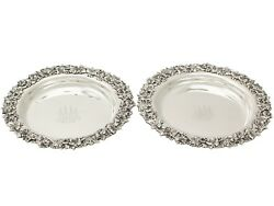 Pair Of American Sterling Silver Coasters - Antique Circa 1900
