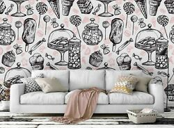 3d Vintage Hand Drawn Candy Cake Self-adhesive Removable Wallpaper Murals Wall