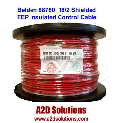 Belden 88760 18/2 Shielded Plenum Rated Fep Insulated Control Cable 1000 Ft Red