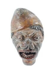 Old Vintage Antique Hand Carved Wooden Puppet Head Halloween Scary Grotesque