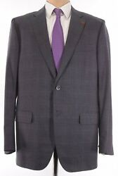 Isaia Nwt Suit Size 48l In Gray W/ Purple Plaid Super 160s Wool Sanita 3,995