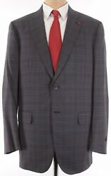 Isaia Nwt Suit Size 46l In Gray W/ Bold Red Plaid Super 160s Wool Base S 4195