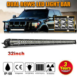 500w 32inch Led Light Bar Spot Flood Combo For Jeep Tractor Atv 4wd Offroad 34''