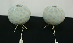 Two 50s 60s Bedside Table Lamps Hairpin Legs + Ball Shades Light Blue Textile