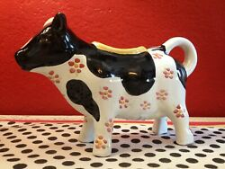 Mackenzie Childs Hand Painted Molly Cow Creamer New With Sticker