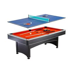 Hathaway Maverick 7-foot Pool And Table Tennis Multi Game With Red Felt And B...