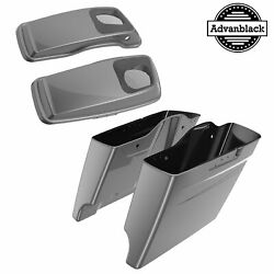Charcoal Pearl Stretched Saddlebag Pinstripes 6x9and039and039 Speaker Lids For 14+ Harley