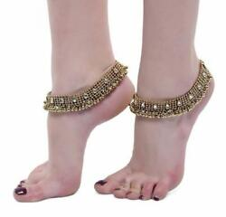 Gold Kundan Studded Anklets Antique Payal For Girls And Women