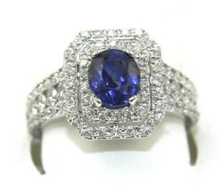 Natural Oval Blue Sapphire And Diamond Halo Solitaire Ring 14k White Gold 2.70ct