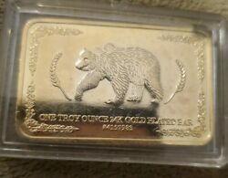 One Troy Ounce 24k Gold Plated Bar Bear And Eagle