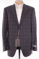 Canali Exclusive Nwt Suit Sz 44r Charcoal W/ Bold Magenta Plaid 150s Wool 2395