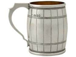 Sterling Silver And039barreland039 Christening Mug By George Adams - Antique Victorian