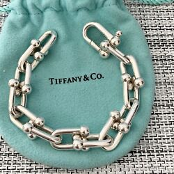 And Co. Silver Thick Wide Hardwear Chain Link 7 Bracelet Box Pouch